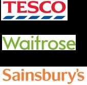 Tesco, Waitrose, Sainsbury's