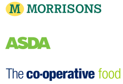 Morrisons, ASDA, The co-operative Food